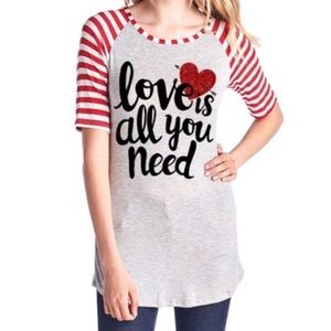 Love Is All You Need Raglan Sleeve Graphic Tee